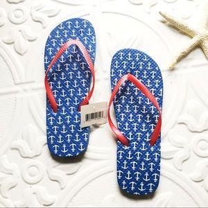 Shoes - NAUTICAL USA America Patriotic Flip Flops Anchor M